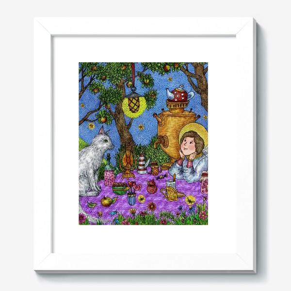 Картина «Уютное чаепитие в саду. Добрый ангел и кот.»