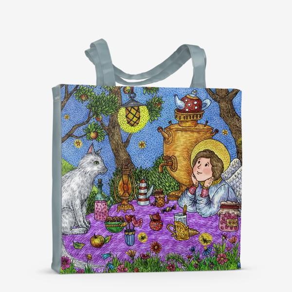 Сумка-шоппер «Уютное чаепитие в саду. Добрый ангел и кот.»