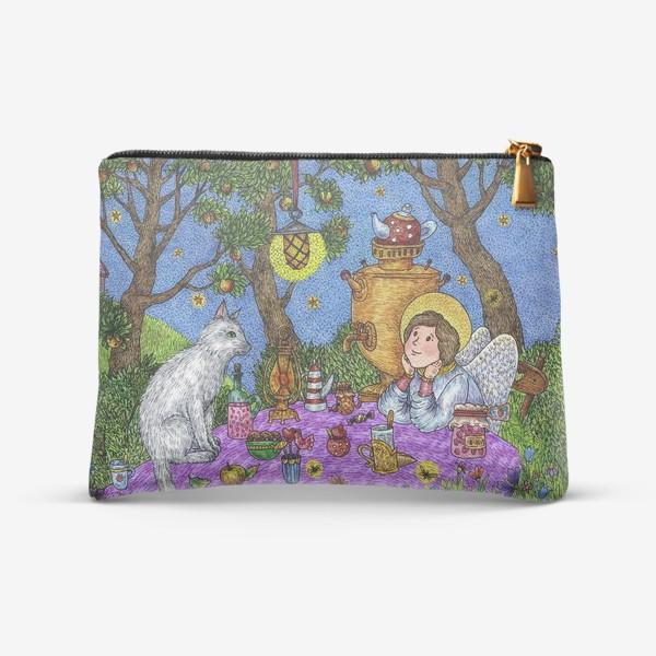 Косметичка «Уютное чаепитие в саду. Добрый ангел и кот.»