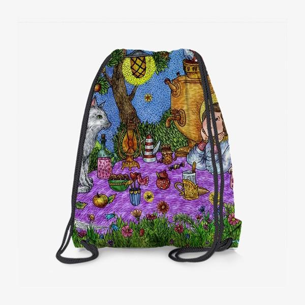 Рюкзак «Уютное чаепитие в саду. Добрый ангел и кот.»