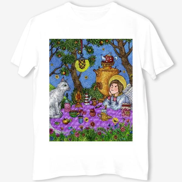 Футболка «Уютное чаепитие в саду. Добрый ангел и кот.»