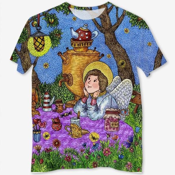 Футболка с полной запечаткой «Уютное чаепитие в саду. Добрый ангел и кот.»