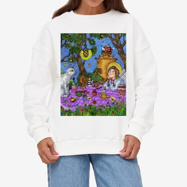 Свитшот «Уютное чаепитие в саду. Добрый ангел и кот.»