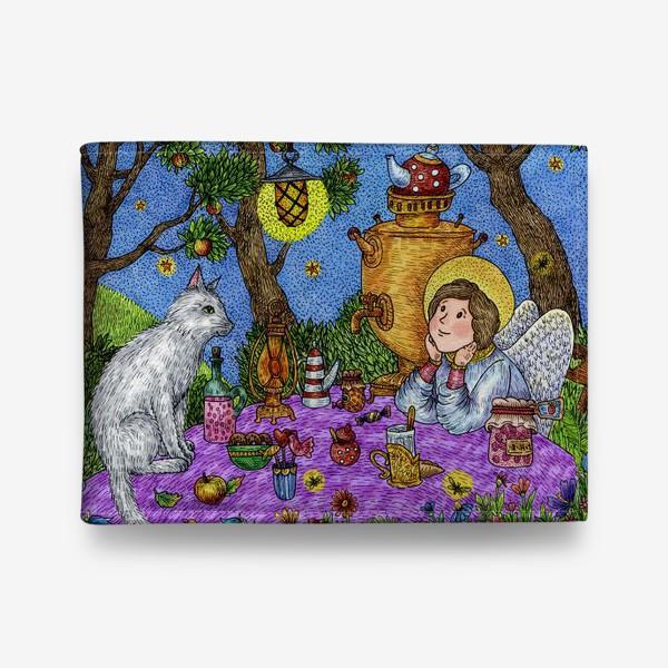 Кошелек «Уютное чаепитие в саду. Добрый ангел и кот.»