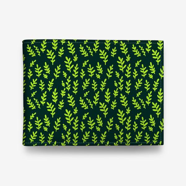 Кошелек «Паттерн с зелеными веточками на зеленом фоне»