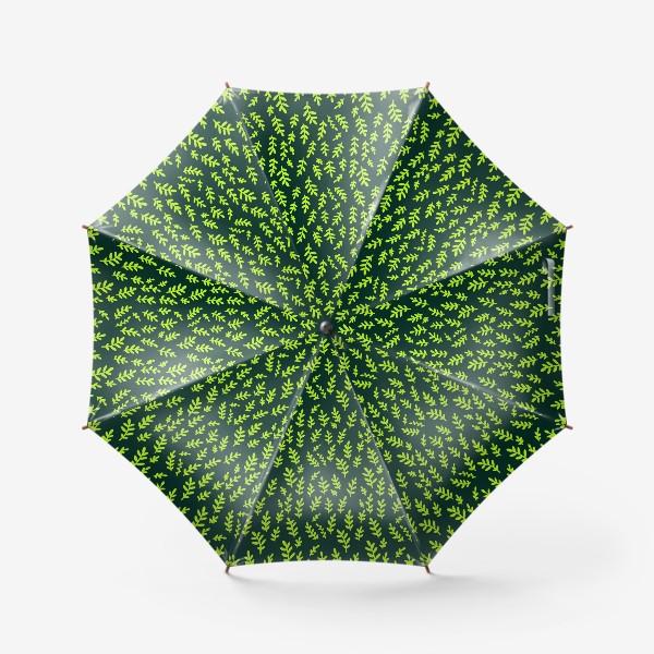 Зонт «Паттерн с зелеными веточками на зеленом фоне»