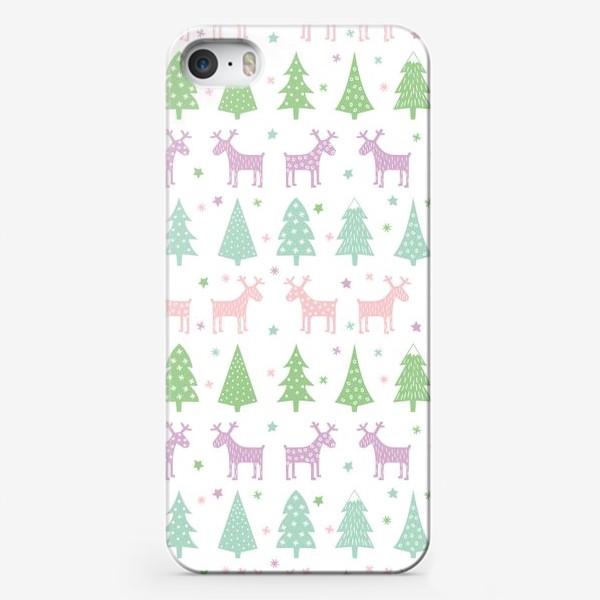 Чехол iPhone «Паттерн Зимний лес»