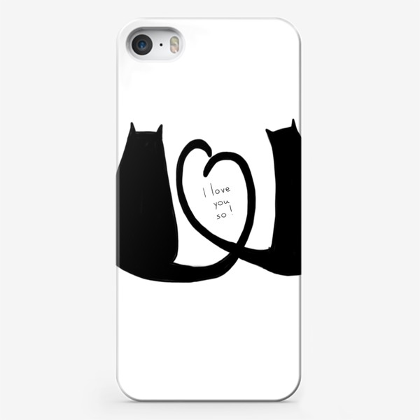 Чехол iPhone «I love you so. Влюбленные коты. 14 февраля. День Св. Валентина »