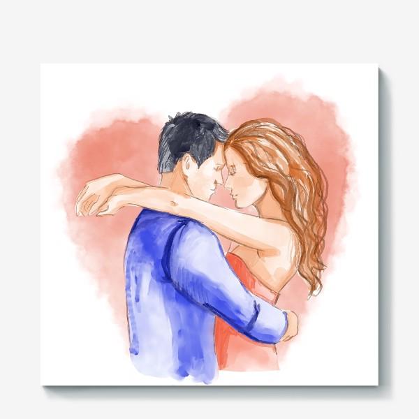 Холст «Влюбленная пара. 14 февраля. Любовь»