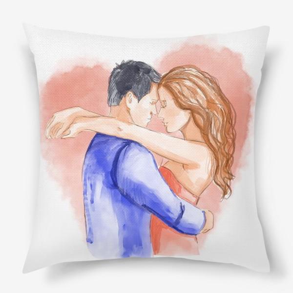 Подушка «Влюбленная пара. 14 февраля. Любовь»
