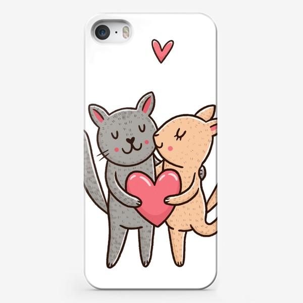 Чехол iPhone «Влюбленные коты. Любовь, Обнимашки»