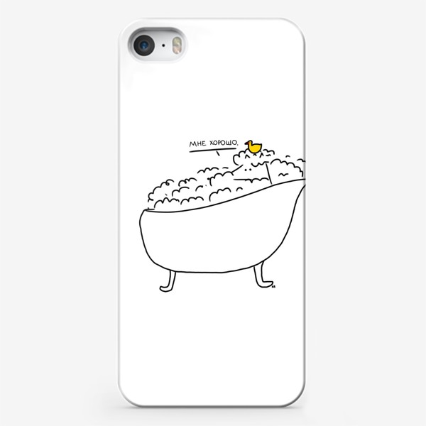 Чехол iPhone «Лиса в теплой ванне с уточкой. Ей хорошо»