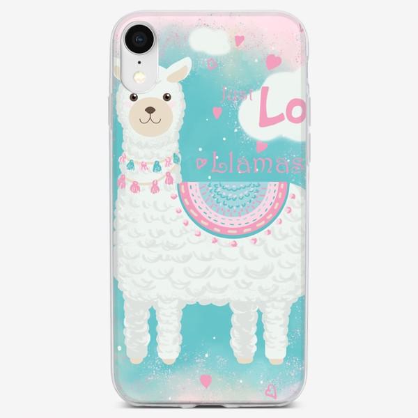Чехол iPhone «Мультяшная милая лама с сердечками»