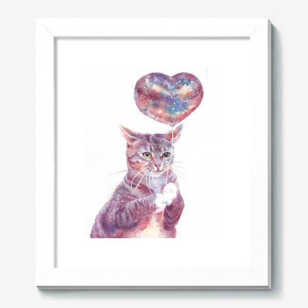 Картина «Котик, любовь, сердце, космос»