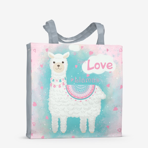 Сумка-шоппер «Мультяшная милая лама с сердечками»