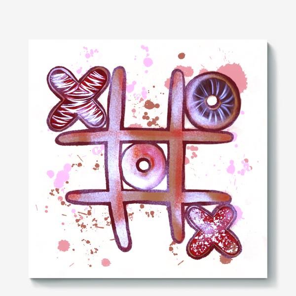 Холст «Крестики - Нолики. Съедобные открытки. 14 февраля. День всех влюблённых.»