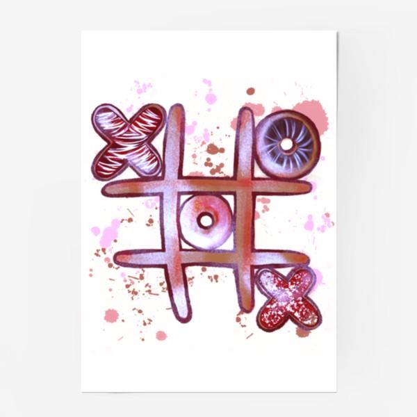 Постер «Крестики - Нолики. Съедобные открытки. 14 февраля. День всех влюблённых.»