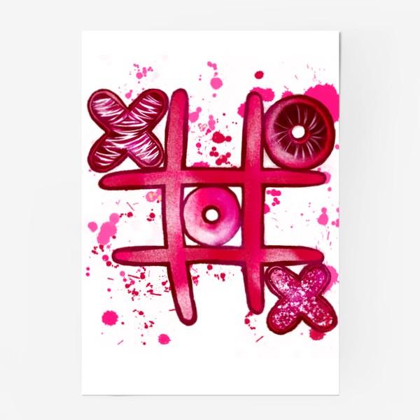 Постер «Крестики - Нолики. Парные футболки. Для нее. 14 февраля. День всех влюблённых.»