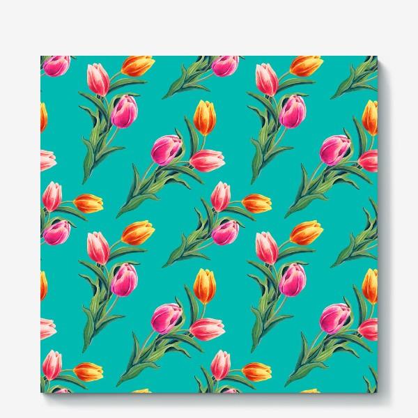 Холст «Акварельные тюльпаны на изумрудном фоне»