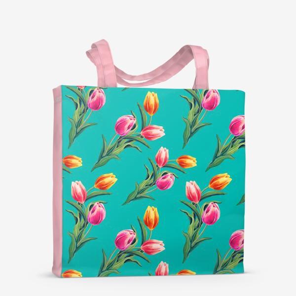 Сумка-шоппер «Акварельные тюльпаны на изумрудном фоне»