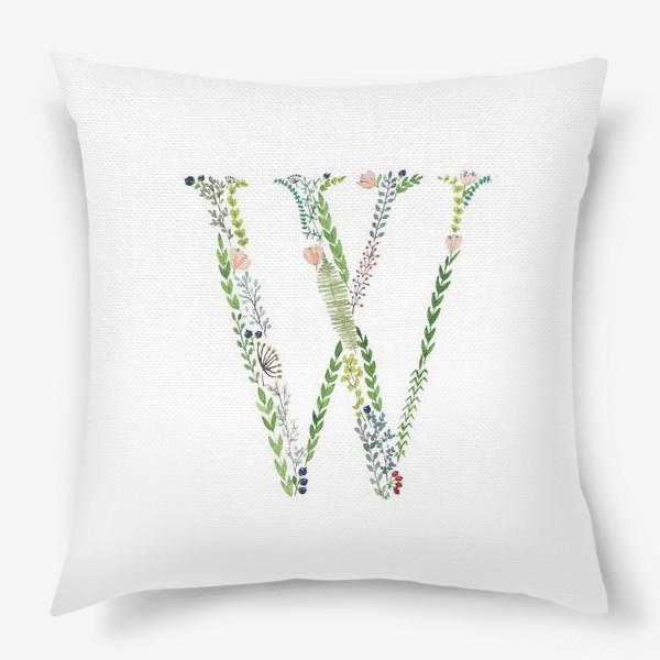 Подушка «Буква W из веточек, листиков, ягод и цветов.»