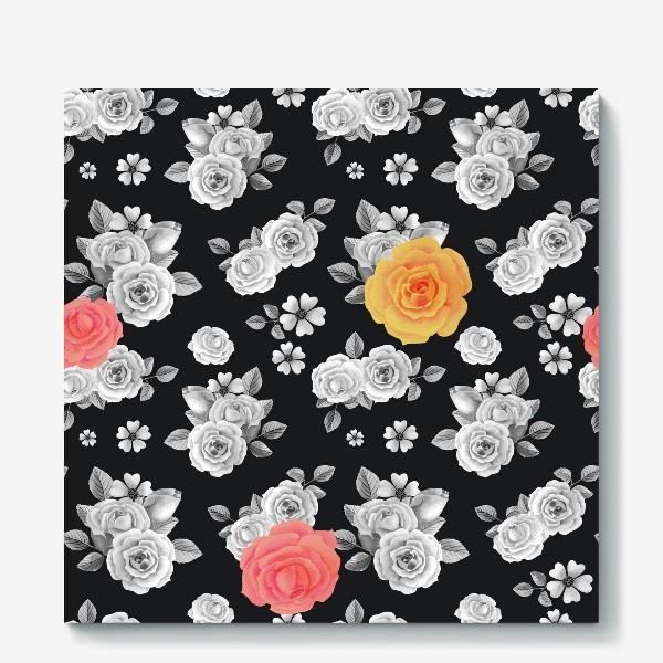Холст «Серые,желтые и красные акварельные розы на темном»