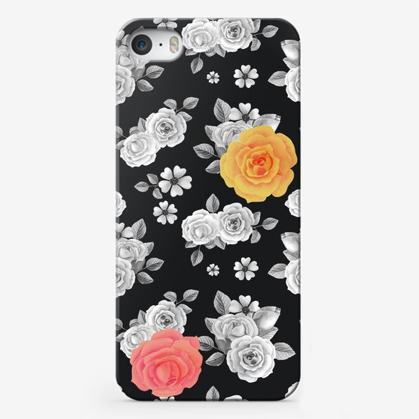 Чехол iPhone «Серые,желтые и красные акварельные розы на темном»