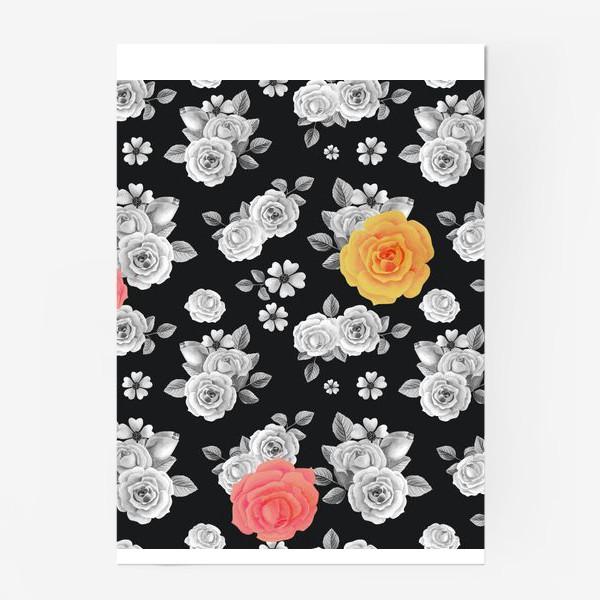 Постер «Серые,желтые и красные акварельные розы на темном»