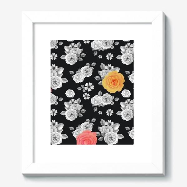 Картина «Серые,желтые и красные акварельные розы на темном»