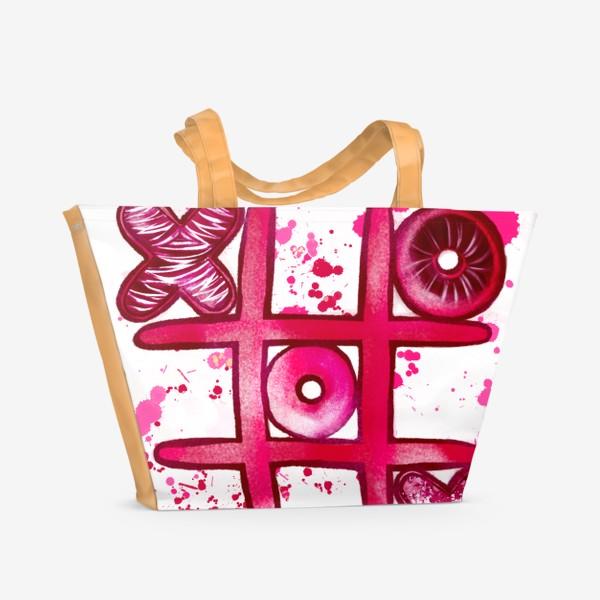Пляжная сумка «Крестики - Нолики. Парные футболки. Для нее. 14 февраля. День всех влюблённых.»