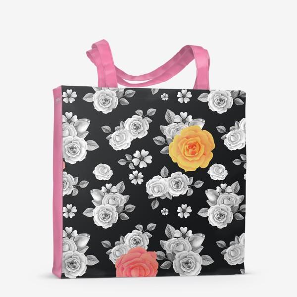 Сумка-шоппер «Серые,желтые и красные акварельные розы на темном»