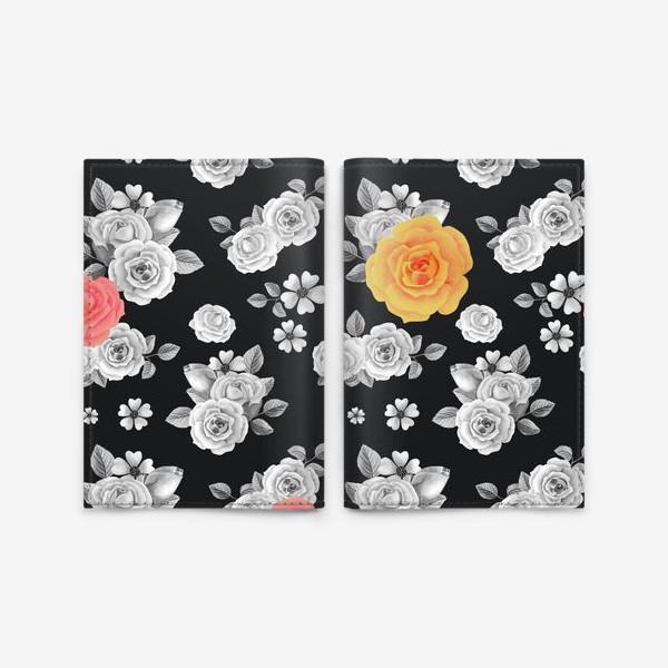 Обложка для паспорта «Серые,желтые и красные акварельные розы на темном»