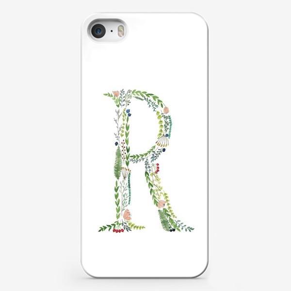 Чехол iPhone «Буква R из веточек, листиков, ягод и цветов.»