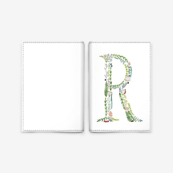 Обложка для паспорта «Буква R из веточек, листиков, ягод и цветов.»