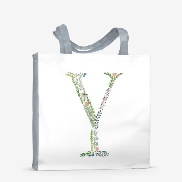 Сумка-шоппер «Буква Y из веточек, листиков, ягод и цветов.»