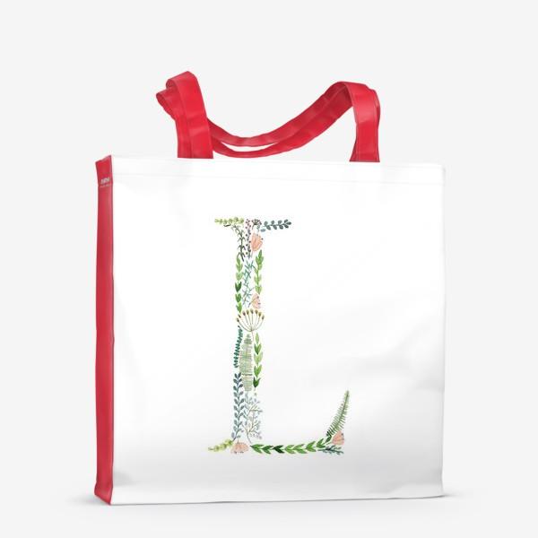 Сумка-шоппер «Буква L из веточек, листиков, ягод и цветов.»