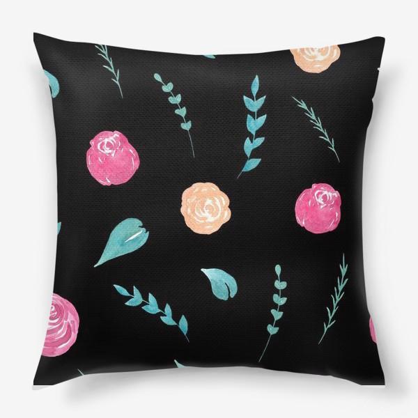 Подушка «Цветочный паттерн. Черный фон»