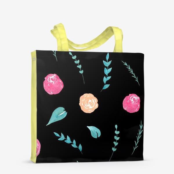 Сумка-шоппер «Цветочный паттерн. Черный фон»