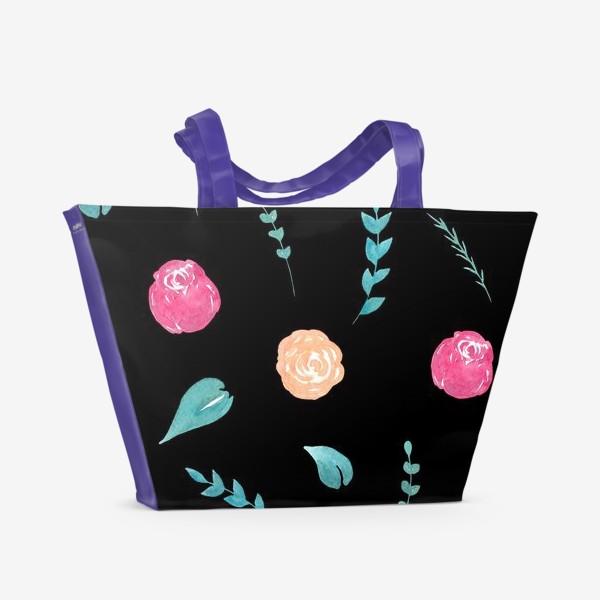Пляжная сумка «Цветочный паттерн. Черный фон»
