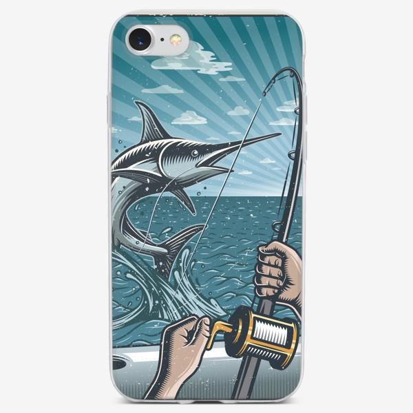 Чехол iPhone «Ретро Постер Рыбалка на Яхте »