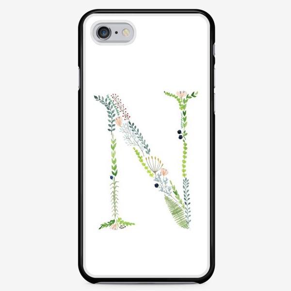 Чехол iPhone «Буква N из веточек, листиков, ягод и цветов.»