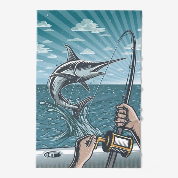 Полотенце «Ретро Постер Рыбалка на Яхте »