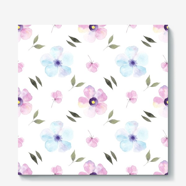 Холст «Орнамент из голубых и фиолетовых цветов»