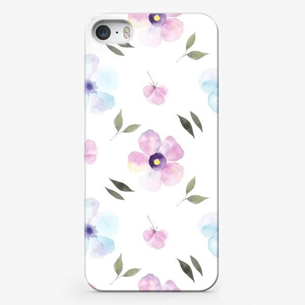 Чехол iPhone «Орнамент из голубых и фиолетовых цветов»