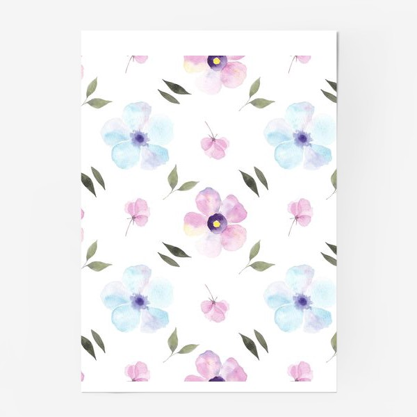 Постер «Орнамент из голубых и фиолетовых цветов»