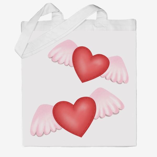 Сумка хб «Два сердца-одна любовь»