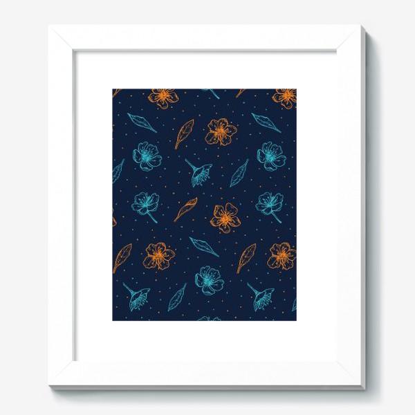 Картина «Вишня, цветы и листья»