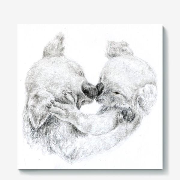 Холст «пара целующихся коала»