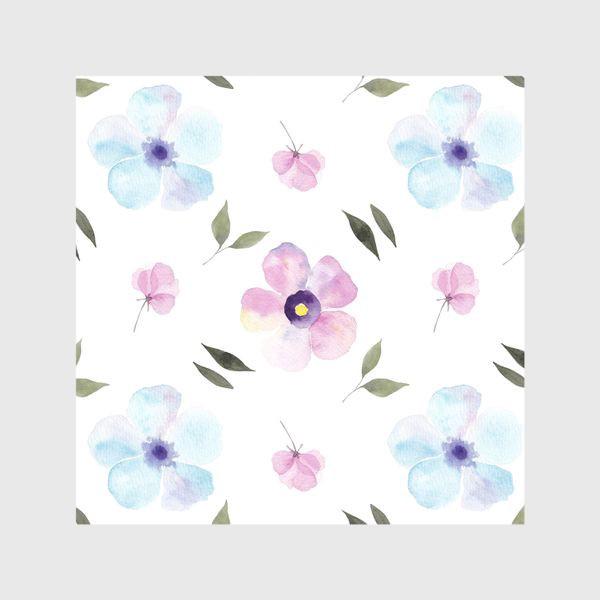 Шторы «Орнамент из голубых и фиолетовых цветов»