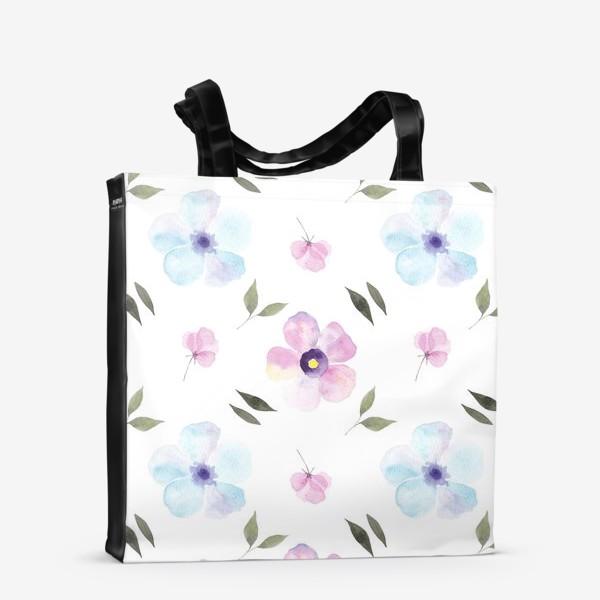 Сумка-шоппер «Орнамент из голубых и фиолетовых цветов»